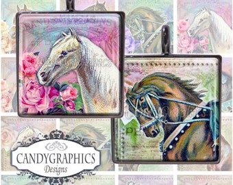 Vintage Horses - Digital Collage Sheet - 1 x 1 inch squares great for scrabble tile pendants - Buy 2 Get One FREE