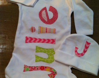 Personalized name applique infant gown with infant hat