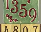 Handcrafted Four Digit Ceramic House Number Tile Address Plaque Craftsman Style