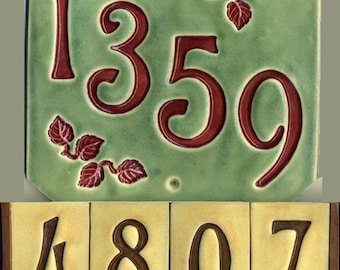 Handcrafted Four Digit Ceramic House Number Tile Address Plaque Craftsman Style