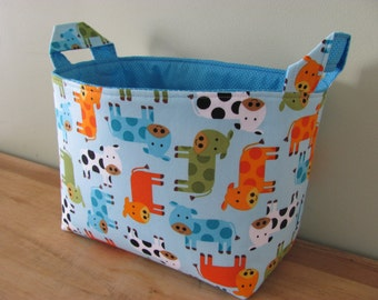 LARGE Fabric Organizer Basket Storage Container Bin Bucket Bag Diaper Holder Home Decor- Size Large Urban Zoologie 3 Cows in Bermuda