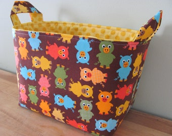 LARGE Fabric Organizer Basket Storage Container Bin Bucket Bag Diaper Holder Home Decor- Size Large - Urban Zoologie 3 Pigs in Bermuda