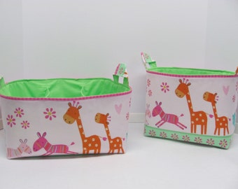 SALE - Caddy and Basket Set / Fabric Organizers Storage Container Bins - Giraffes Pink - Nursery Decor - Baby Gift - RTS