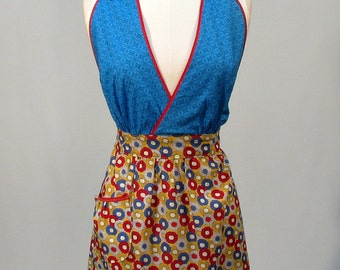 Cute Apron Crossover Bodic Modern handmade flirty fun Blue Red and Yellow