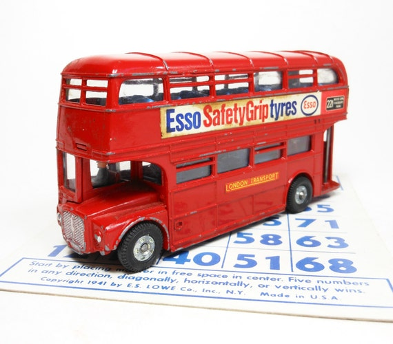 Vintage Dinky Toy RouteMaster Double-Decker Bus 289 Esso Tyres Red 1960's Metal England PeachyChicBoutique on Etsy
