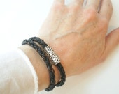 Brown Braided Leather Double Wrap Bracelet with Magnetic Clasp