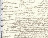 Fabric Michael Miller OLD SCRIPT brown on cream cursive antique writing