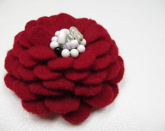 Wool Flower Brooch Pin in Red White Black with Vintage Earring Center Great Stocking Stuffer
