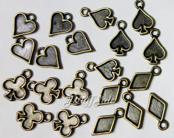 Playing card symbols - Hearts, spades, diamonds, clubs 20 pcs anique broze