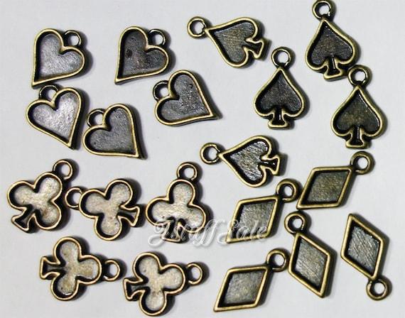 Playing card symbols Hearts spades diamonds clubs 20 pcs