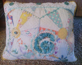 Aqua Crazy Quilt Pillow