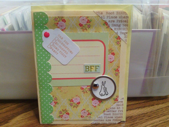 Retro BFF Yellow Bunny Card