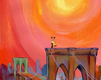 Print of Lovers on the Bridge