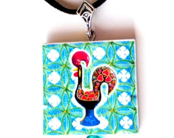 Portugal  Antique Azueljo Tile Replica  NECKLACE,  Aveiro with ROOSTER or Galo de Barcelos  - waterproof and reversible