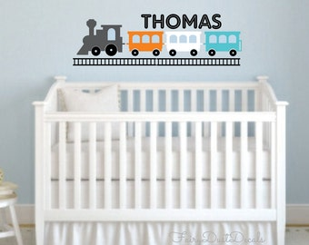 Toy Train Wall Decal with Name - Baby Boy Nursery Bedroom Wall Decor - Locomotive Train Engine wall decal - Vinyl Wall Decal - Train Decal
