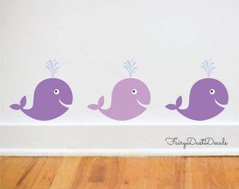 Whale wall decal, vinyl whale decal, nursery stickers, whale wall art, fish wall decals, whale wall decor, whale wall art, ocean beach fish