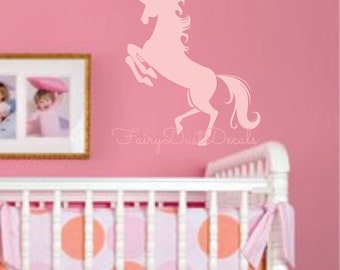 Unicorn Wall Decal - horse wall decal for girls bedroom - unicorn decal for teen bedroom wall - mythological animal horse pegasus wall decal
