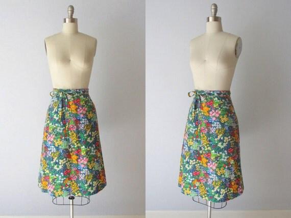 Wrap Skirt / Floral Wrap Skirt / 1980s Wrap Skirt /  Monet's Garden