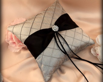 Pintuck Dupioni Silk Diamonds Ring Bearer Pillow in Silver with a Black Sash and Rhinestone Button Accent