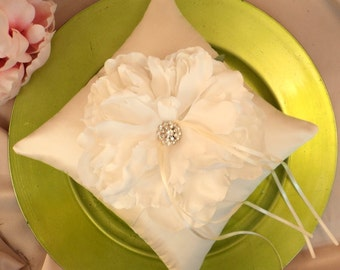 Dupioni Silk Peony Bloom Ring Bearer Pillow with Vibrant Rhinestone Accents..shown in ivory/white peony/ivory