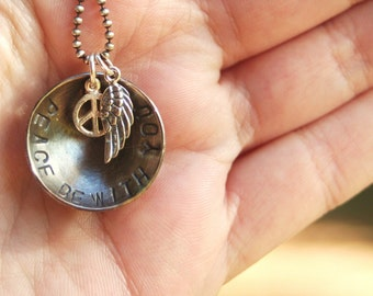PEACE be with YOU Angel Wing Sterling Silver Charm REMEMBRANCE Hand Stamped Necklace