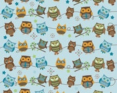 YEAR END SALE - 2 7/8 yards - Hooty Hoot Returns - Roll Call in Sky Blue - sku C3441 - by  Doohikey Designs for Riley Blake De