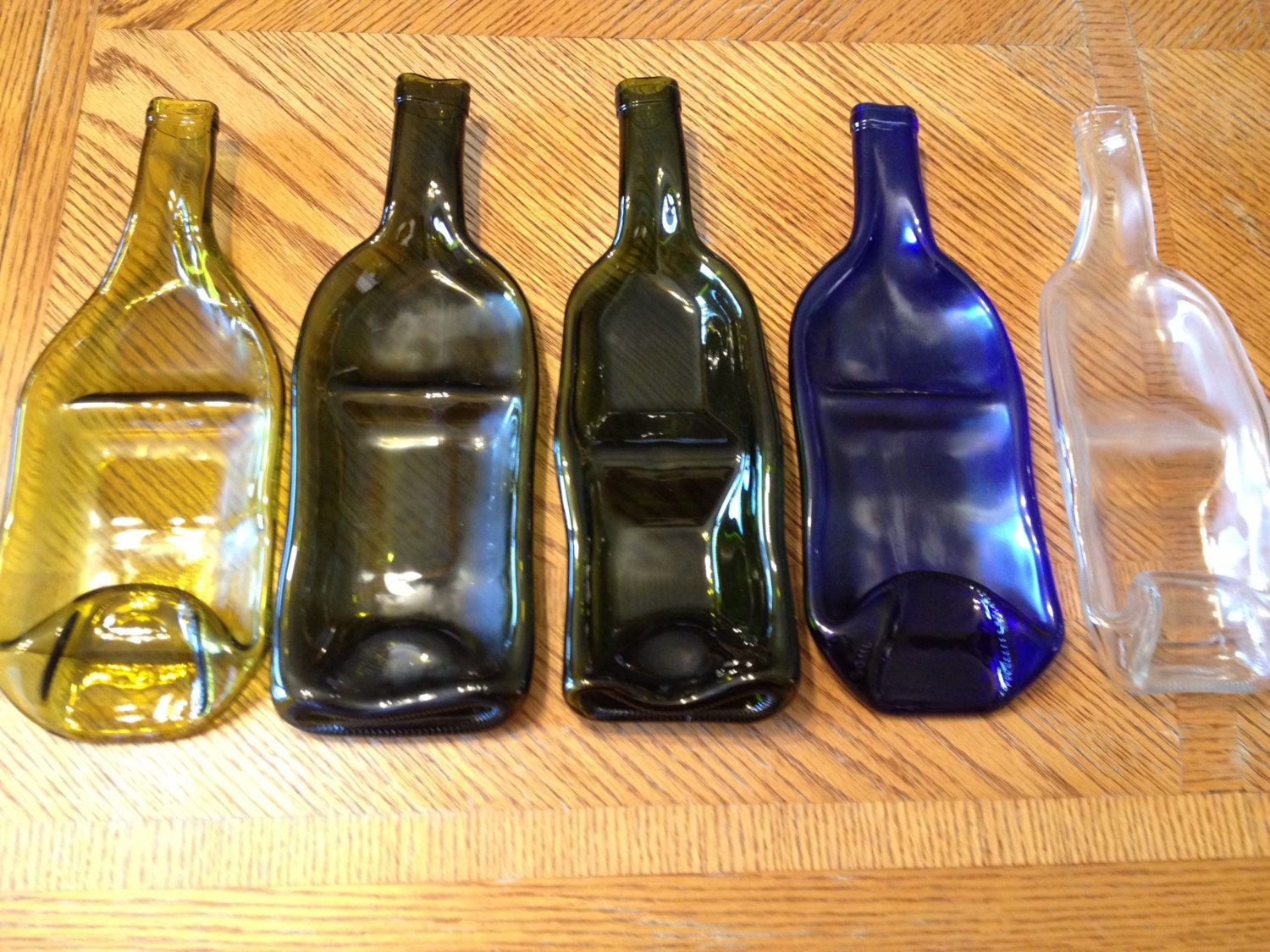 Recycled / Upcycled Melted Slumped Wine Bottle by mlglassdesigns