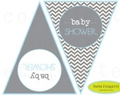 PRINT YOUR OWN -  Blue (Pink) and Gray Chevron Shower or Birthday Banner