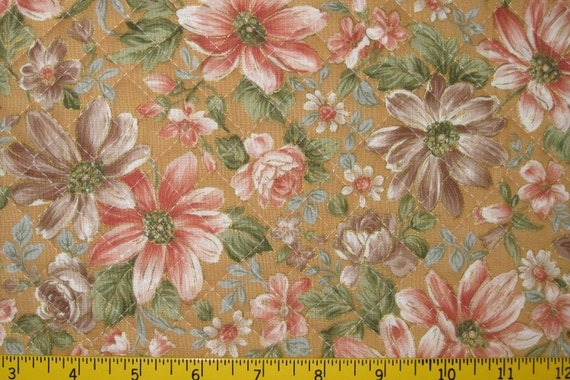 Pre Quilted Fabric Half Meter Cut Floral Design Golden Tan