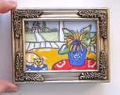 Sunflowers Still Life Painting, Original acrylic on canvas, Eiffel Tower Landscape, Cat