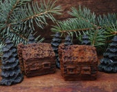 Rustic Log Cabins & Pine Trees Beeswax Melts, Primitive Bowl Fillers, Scented Beeswax, Wax Tarts, Wax Melts Primitive Decor, Candle Melts