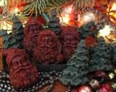 Christmas Scented Beeswax Tarts Santa Claus & Christmas Trees Holiday Tarts/Melts Primitive Bowl Fillers