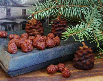 Small Beeswax Pinecone Candles & Scented Beeswax Rosehips Tarts, Melts, Bowl Fillers, Beeswax Candles, Beeswax Tarts, pine cone Candles