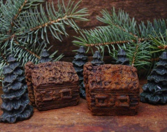 Rustic Log Cabins & Pine Trees Scented Beeswax Melts, Primitive Bowl Filler, Primitive Christmas Decor, Christmas Wax Melts,  Holiday Scents