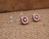 Breast Cancer Awareness - Bullet Jewelry - 9mm Nickel Silver Bullet Casing Stud Earrings with PINK Swarovskis