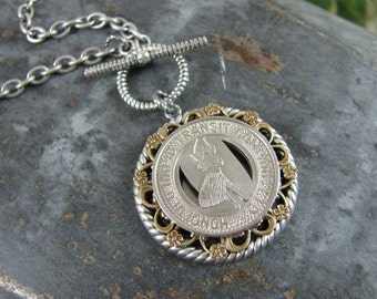 Transit Token Jewelry - Genuine Honolulu Hawaii Rapid Transit Co. Transit Token Medallion Necklace on Easy Toggle Clasp