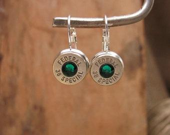 Bullet Jewelry - Bullet Earrings - Nickel 38 Special/357 Silver Leverback Earrings - MAY Birthstone - EMERALD