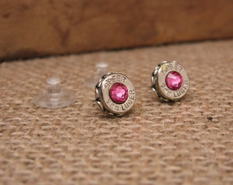 Breast Cancer Awareness - October Birthday - Bullet Jewelry - 9mm Silver Bullet Casing Stud Earrings - PINK Swarovskis