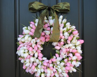 Spring Tulip Wreath, MOTHER'S DAY Tulips, Front Door Wreath, Door Wreaths, Mother's Day Wreath, Wreaths, Easter Tulips, Spring Wreaths