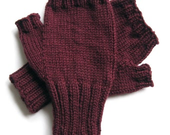 Texting Gloves for Men, Handknit Gloves, Hand Warmers for Men, Gloves for Teen Boys, Wool Mitts, maroon, size M/L