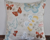 Decorative Pillow Cover Butterflies and Floral Print on natural oatmeal background. 20 x 20 Pillow