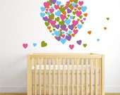 HEART WALL - Vinyl Decal Hearts - Large Wall coverage - Playroom - Nursery - Girl Bedroom