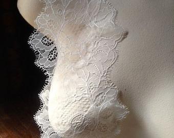 SAMPLE Chantilly Lace Ivory Creme for Bridal Lace Caps, Appliques, Gowns, Lingerie CH 1