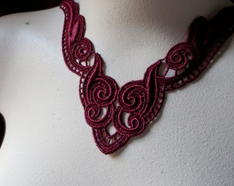 Lace Applique in Merlot for Jewelry Supply, Altered Couture, Costume Design CA 123