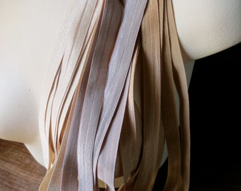 Foldover Elastic in Buff Neutrals - 2 yards each of 3 colors