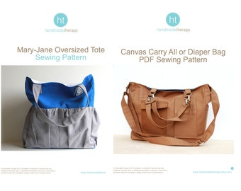 PDF Sewing Pattern Bundle - The Canvas Carry All AND The Oversized Mary-Jane Tote Bag