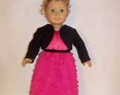 Pink Coral Party Dress, Black Shrug Jacket & Black Party Shoes for 18 inch Doll