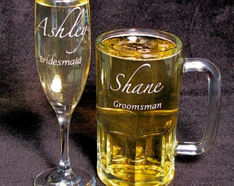 Personalized Champagne Flute Beer Stein Set, Maid of Honor Gift & Best Man Gift