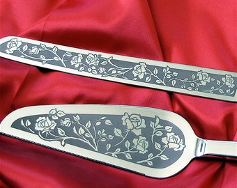 Personalized Wedding Cake Server Knife, Rose Decor for Garden Wedding, Present for Couple