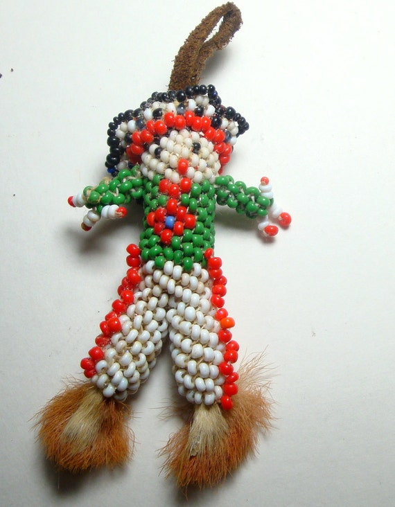 Zuni Native American Indian Hand Beaded Doll, Fur Feet with Claws, 1965 New Mexico, Red White Black Green, Boy Doll